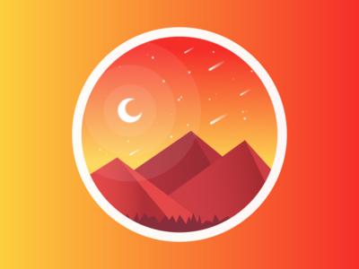 Bright Night mountains illustration landscape desert midnight moon