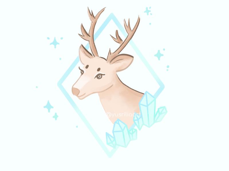 Crystal Deer reindeer frozen ice character illustration winter animal deer crystal