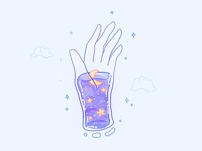 The Universe Inside my Hand constellations stars liquid bubble moon aesthetic illustration galaxy universe