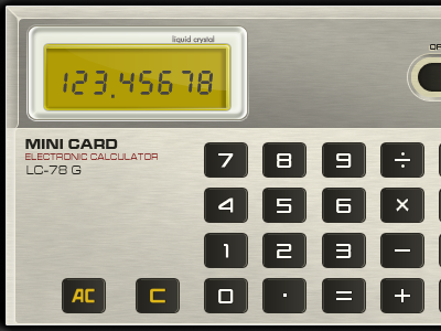 Mini Card Calculator calculator iphone app ios app ui photoshop retro