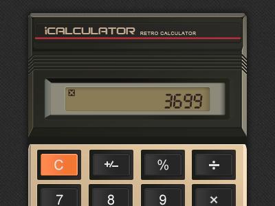 Retro Cal calculator iphone ios app ui photoshop retro foak