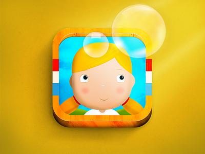 Bubbles Icon [iOS icon] icon icons game kid child illustration wood texture light bubble yellow shadow
