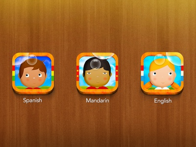 Bilingual Child Bubbles Icons [iOS / iPad] icon icons game kid child illustration wood texture light bubble yellow shadow