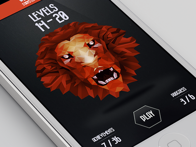 Level Select [iPhone UI/UX] app ui game iphone level ux ios flat hex hexagonal isomorphic low poly lowpoly photoshop render screen word
