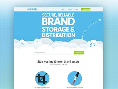 Homepage Redesign landing homepage web app one page blue clouds header hero flat ui