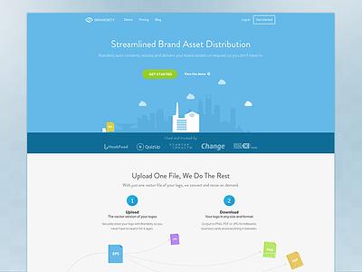 Brandisty Homepage Redesign landing homepage web app one page blue clouds header hero