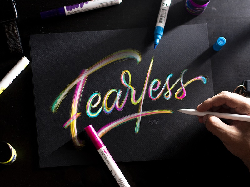 Lettering Fearless Colorful ecoline pink purple paint lettering artist typography sketch pencil hands design procreate colorful black quote ipad pro lettering calligraphy