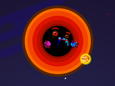 Black hole gravity eat face milky way stars planets game design character design astronomy black hole
