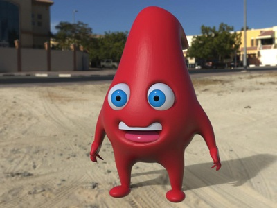 Hamsey Hemoglobin character teeth eyes blue red cute medical mascot bood hemoglobin hamsey