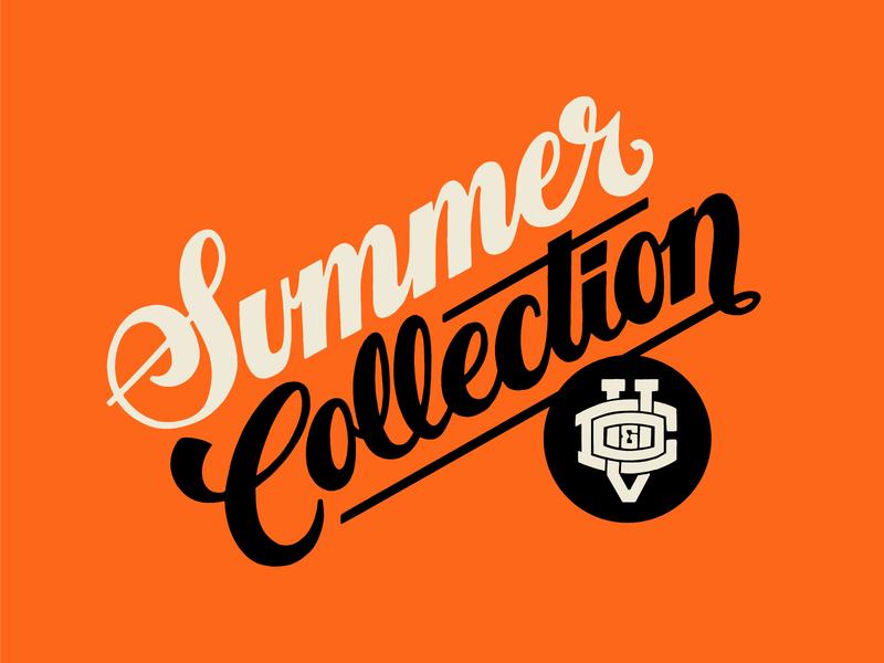 Summer Collection script promotional design tag label identity design lettering logo apparel design apparel logo apparel logotype typography vector logo lettering flat illustration 2d design branding