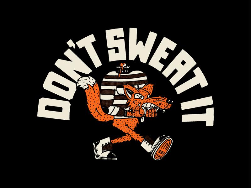 Don't Sweat It animal run sweat boots identitydesign identity illustration design strut skull fox abstract typography vector logo flat design branding lettering illustration