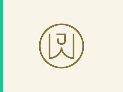 Jamie Wall Monogram Stamp icon typography vector logo lettering flat illustration 2d design branding
