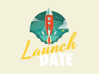 Launch Date design 2d texture vintage retro spaceship planet space rocket logo branding