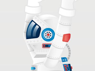 Astronaut Detail spaceman spaceship rocket nasa space red design blue poster minimal bright vector art clean typography icon flat illustration 2d branding