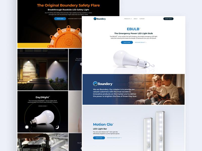 Boundery marketing web clean flat ui ux design figma webflow product page product promo e-comerce
