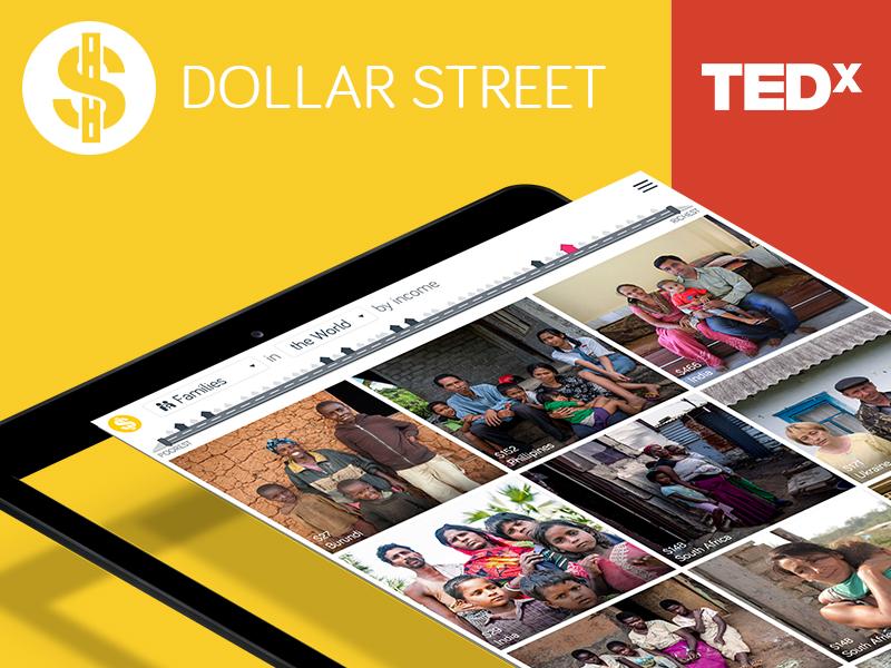 Dollar Street grid design web flat social dollar street ux ui orange clean tedx