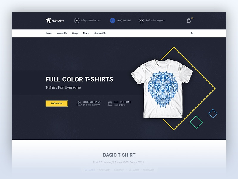 T-shirt store contest flat design goods e-commerce brand women men fashion clothes shop t-shirt