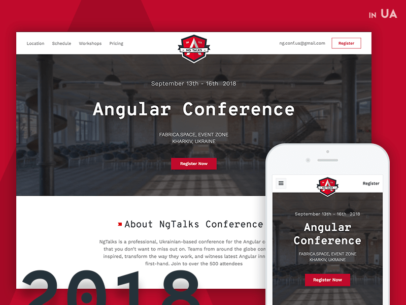 Angular Conference Website webflow web design branding flat ui ux event modern clean minimal
