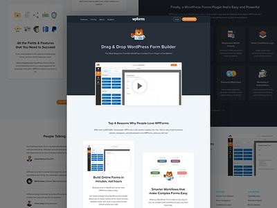 WP forms plugin web site redesign brand blue dark orange builder form flat plugin wordpress web ui ux