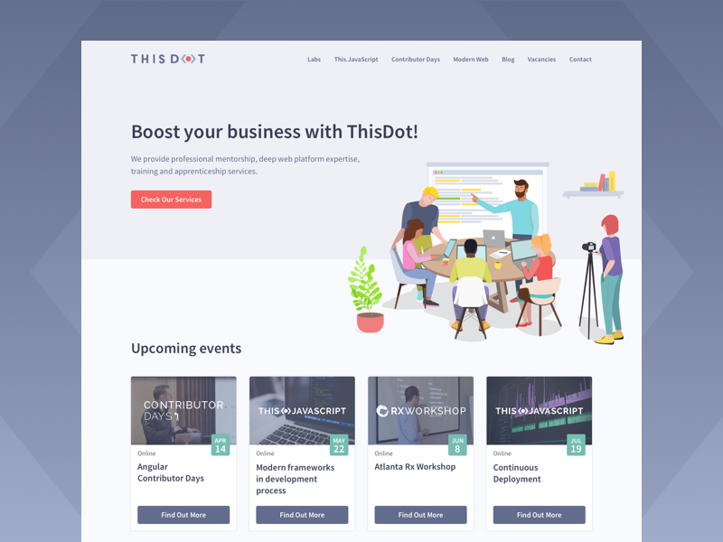 ThisDot - Home Page re-design flat illsutration redesign ux map dot thisdot angular ember webflow rxjs branding