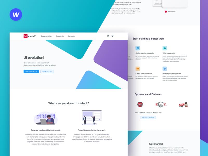 metaUI clean branding meta ui webflow angular ux evolution framework landing landing page web flat