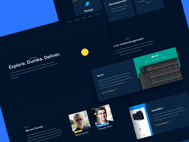 Dumka v1.0 webflow ui flat ux branding design interaction animation clean dark ui dark blue dark yellow agency