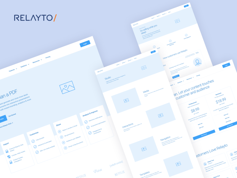 Relayto wireframes presentation pdf marketing website figma content design prototype information architecture information design ux design wireframing wireframes