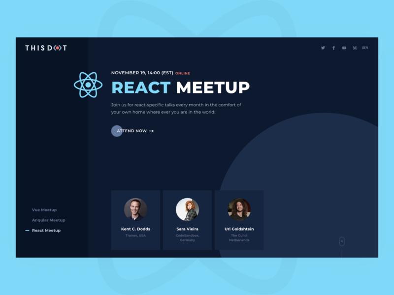 JS meetups speakers talk conference interaction responsive event clean design web flat meetup webflow frameworks framework vue react angular js