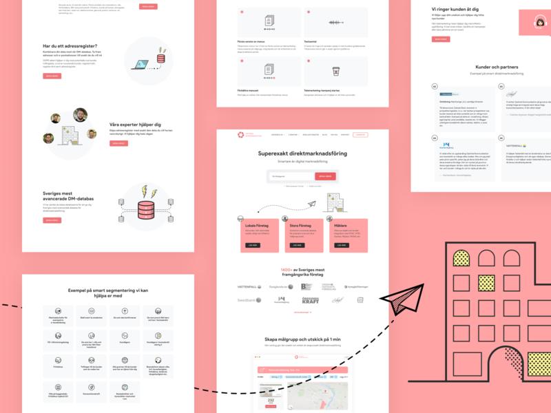 Optimal Kommunikation web design website web ux ui minimal flat creative clean design illustration marketing site marketing pink webflow