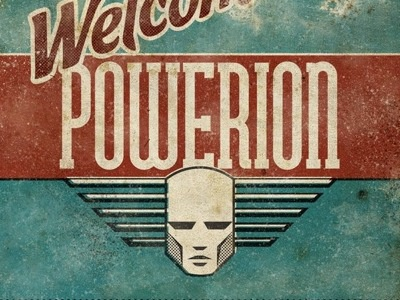 Powerion intro vector logo retro futuristic grunge head powerion