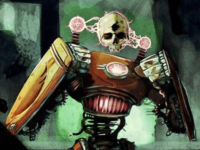 Cyclops powerion skull illustration card game plasma robot 30s retro futuristic
