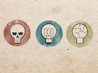Powerion clans logo futuristic powerion retro grunge vector bulb fist skull