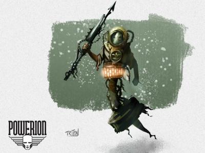 Triton powerion skull illustration card game robot 30s retro futuristic