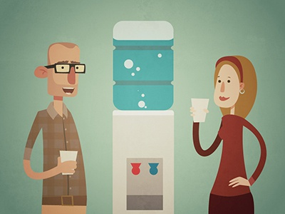 drink more water! vector illustration water drinking office
