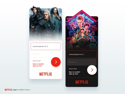 Netflix - Login Concept welcome dark mode streaming concept app log in sign up account register the witcher stranger things netflix login ux ui