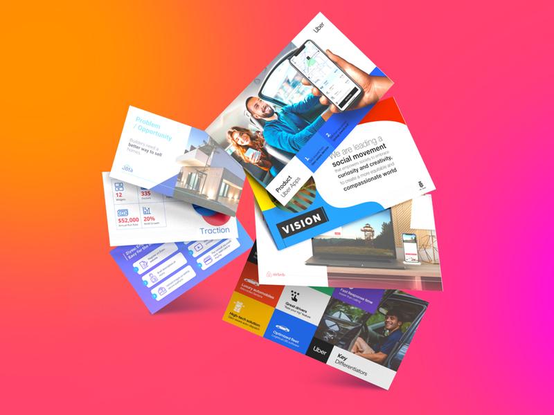 Pitch Deck - Render branding floating investor pitch investor deck website mockup 3d cards render power ppt presentation design presentation slide pitch deck