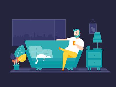 The Sofa character website costa rica behance project house home relaxing insurance nature sofa design cat app ux ui branding vector flat illustration 2d