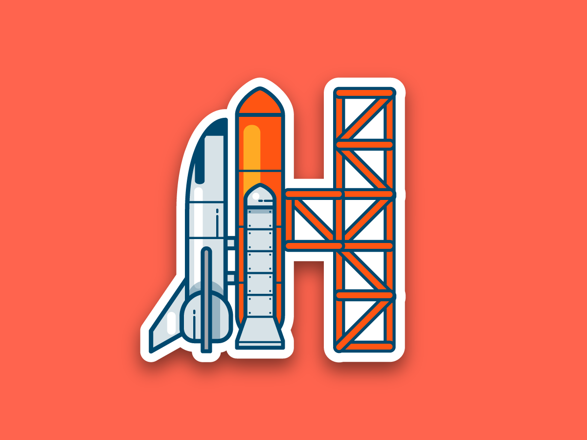 36 days of type - H 36 days of type letter h lineicon sticker nasa universe spaceship space exploration space rocket icon typography vector flat illustration 2d