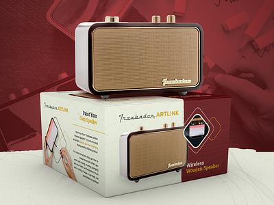 Trendbader | Vintage Packaging mockup render 3d box device retro vintage music speaker radio packaging package