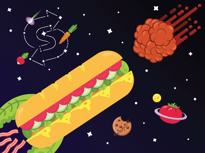 Food Universe cookie tomato planet drawing illustration meatball stars space universe food sandwich galaxy