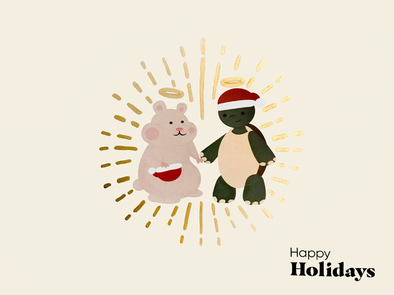 Greetings from the Other Side pets card hamster drawing turtle illustration holidays christmas