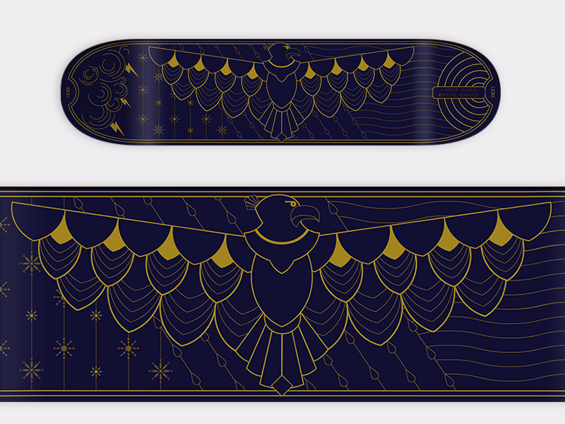 Eagle Deck (Endurance) shapes wings weather seasons deck elegant geometric illustration eagle skateboard art deco