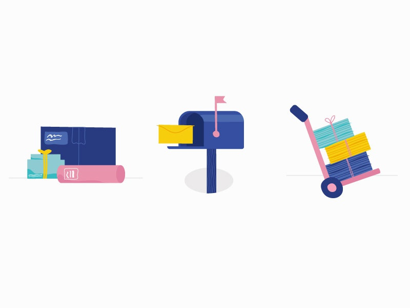 Shipping Illustrations drawing letter box mailbox shipping mailing packages trolly paper envelope illustration