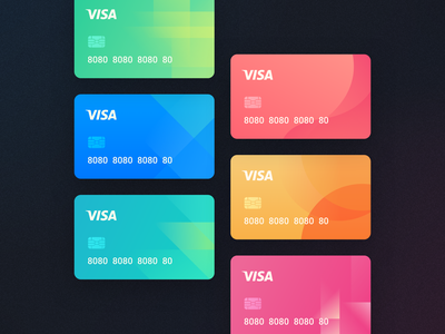 Cards financial design visa credit bank color branding vector ui card