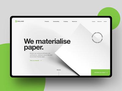 Branding, UI - Rolland paper design ui website