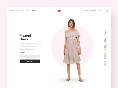 Fashion product landing page website pink design concept landing page hm fashion