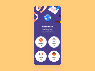 Language learning App word color language translation study clean illustration principle gif demo animation design card ux app ui