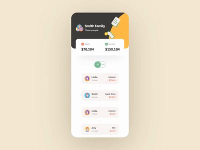 Family account App data financial app cash account financial illustration principle gif demo animation design card ux app ui