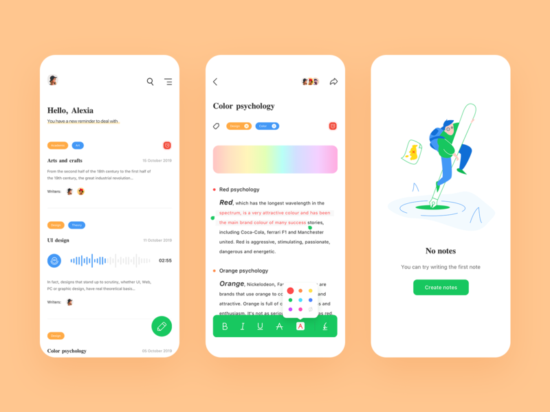 Multi-function note App color record workouts text design notebook note card ux app ui