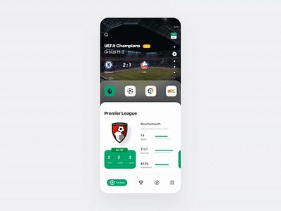 Football match App interface statistical sports football app football choice principle animation demo design gif card ux app ui